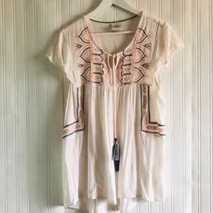 Knox Rose boho tassel short sleeves top size XXL